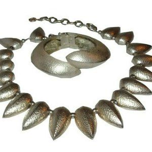 Givenchy Hammered Silver Tone Tribal Spike Necklac